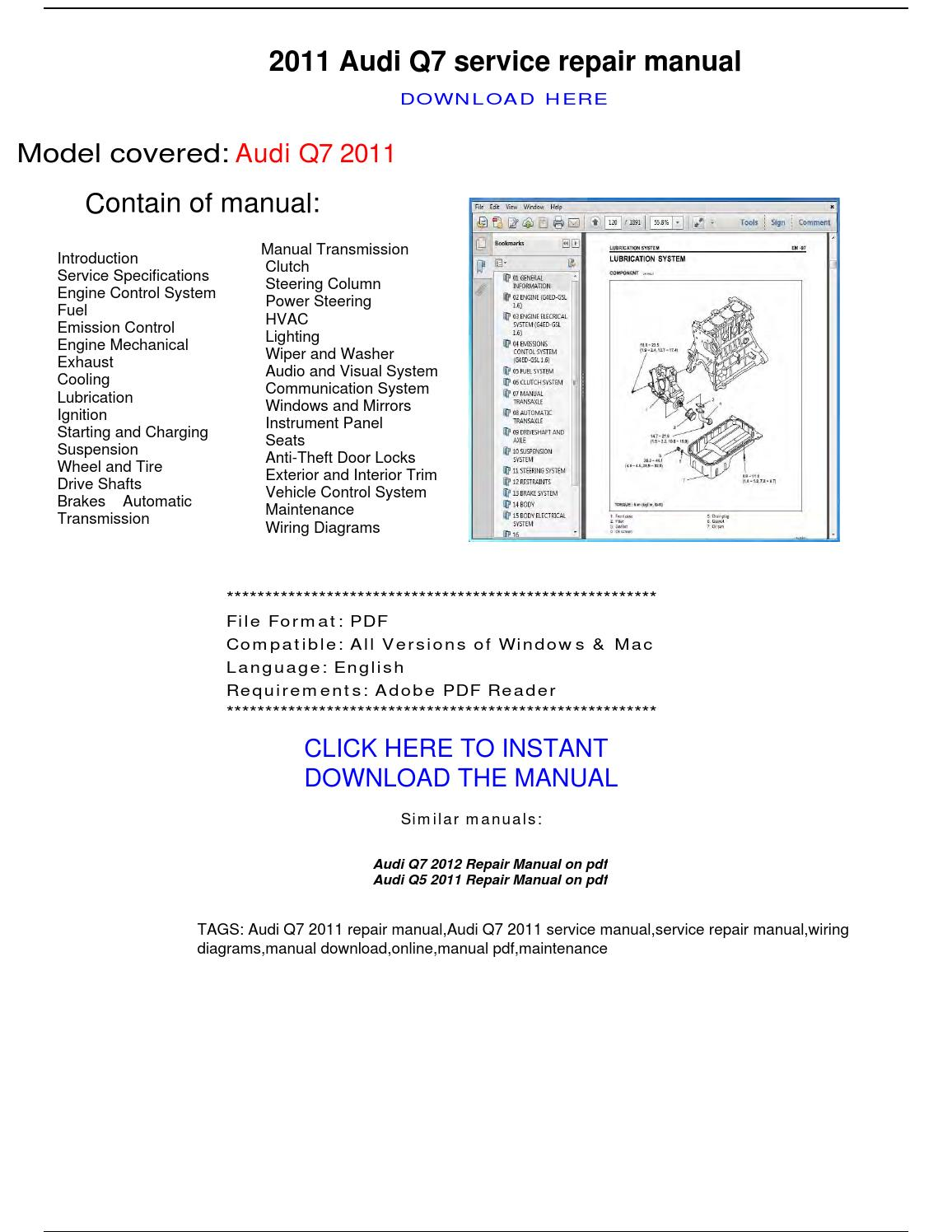 Audi Q7 2011 Repair Manual By Repairmanualpdf