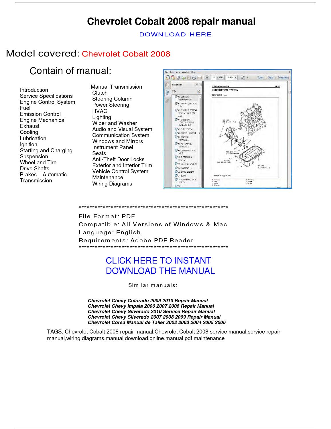 Chevrolet Cobalt 2008 Repair Manual By Repairmanualpdf