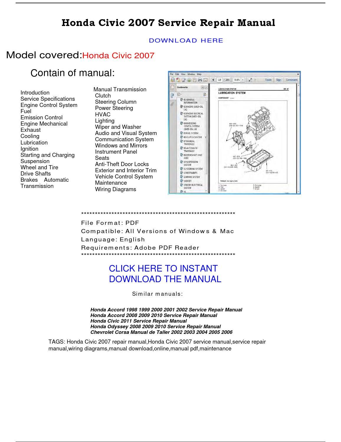 Honda Civic 2007 Service Repair Manual By Repairmanualpdf