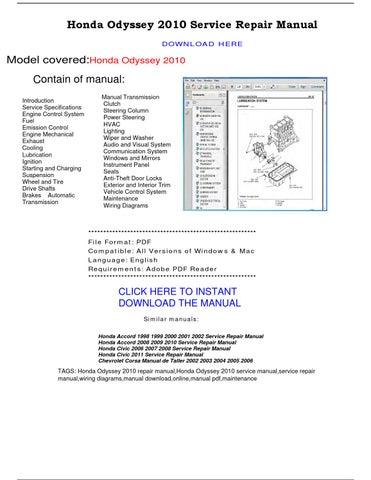 honda odyssey 2010 service repair manual by repairmanualpdf issuu Behringer Mixer Manuals Types of Manuals