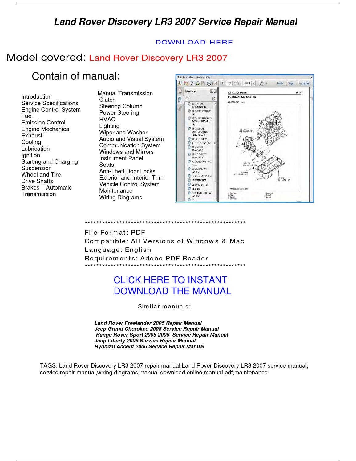 land rover discovery lr3 2007 repair manual by
