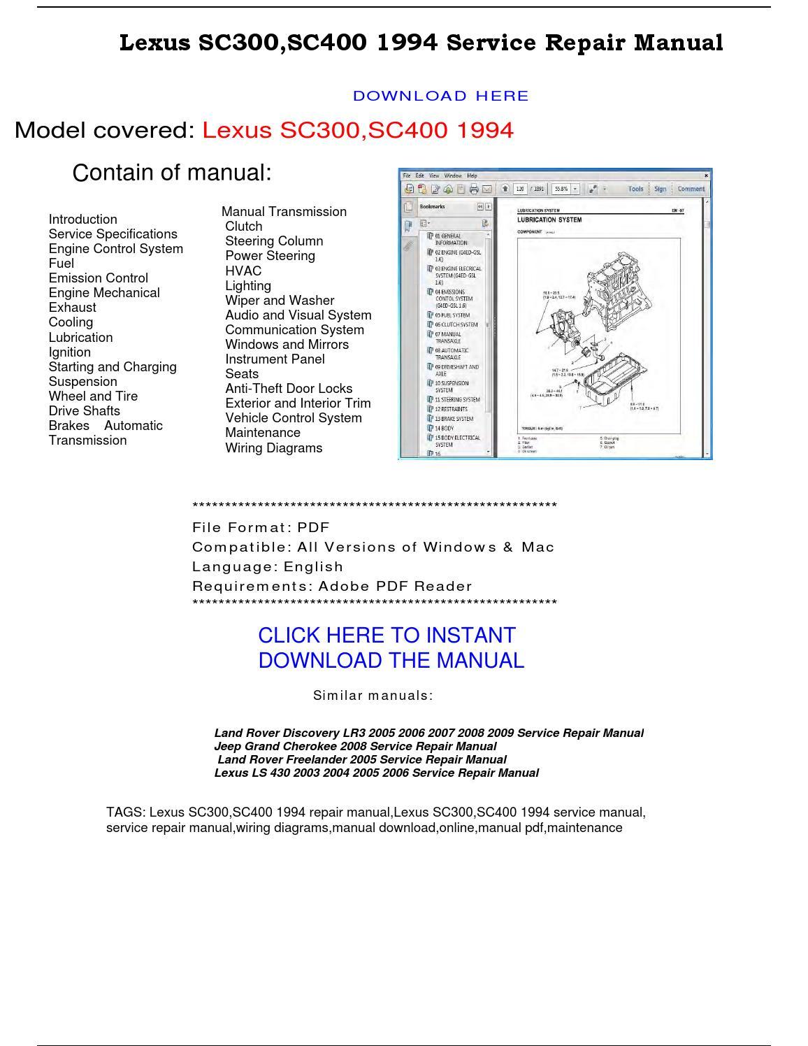 Lexus Sc300 Sc400 1994 Service Repair Manual By