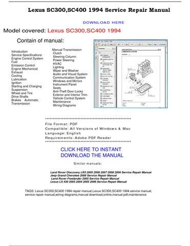 Lexus Sc300 Sc400 1994 Service Repair Manual By