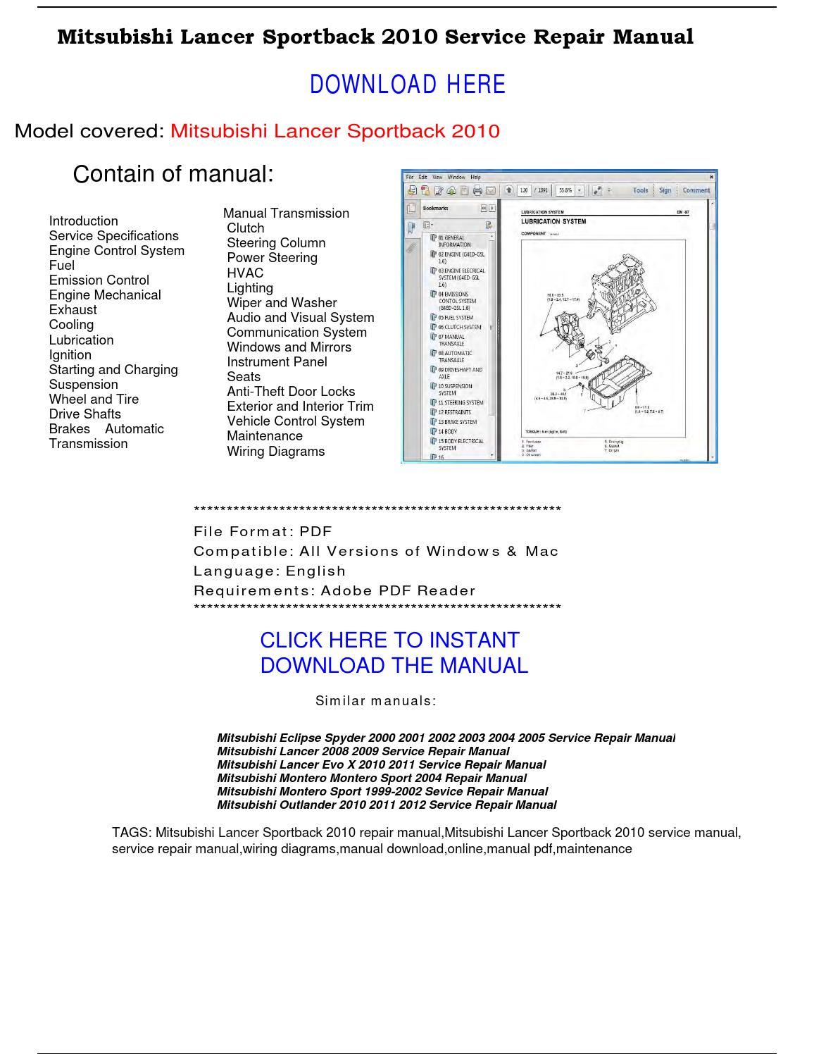Mitsubishi Lancer Sportback 2010 Service Repair Manual By Repairmanualpdf