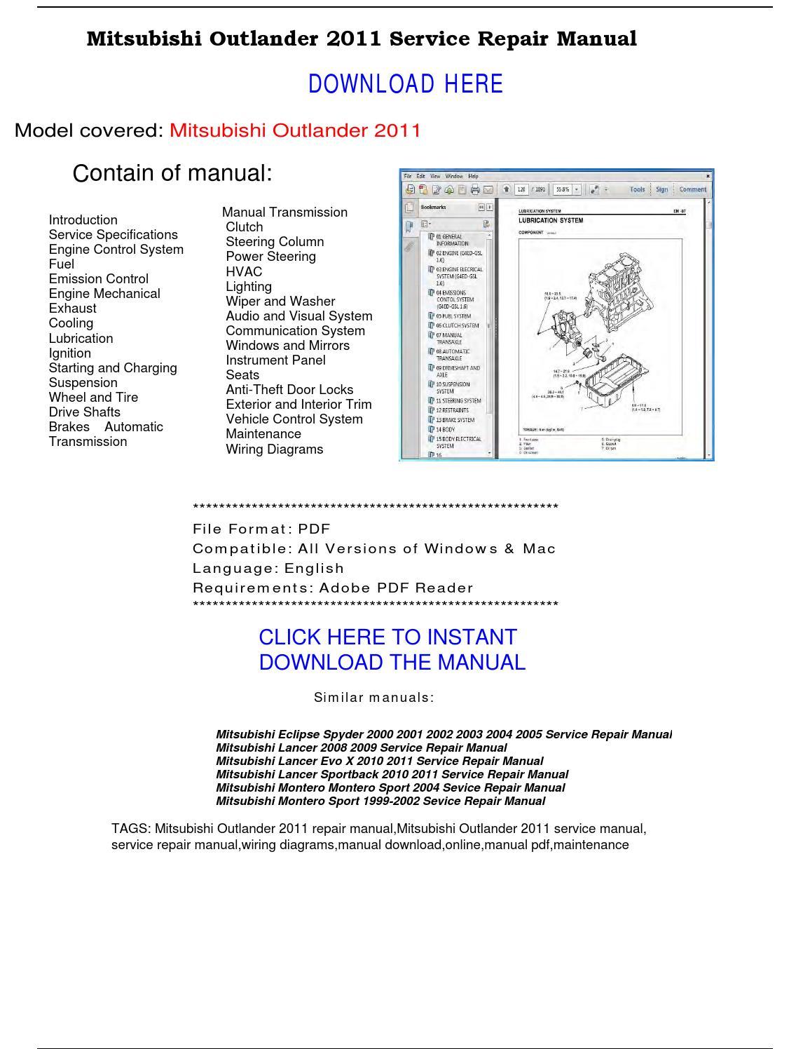 Mitsubishi Outlander 2011 Service Repair Manual By Repairmanualpdf