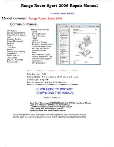 Range Rover Sport 2006 Repair Manual By Repairmanualpdf