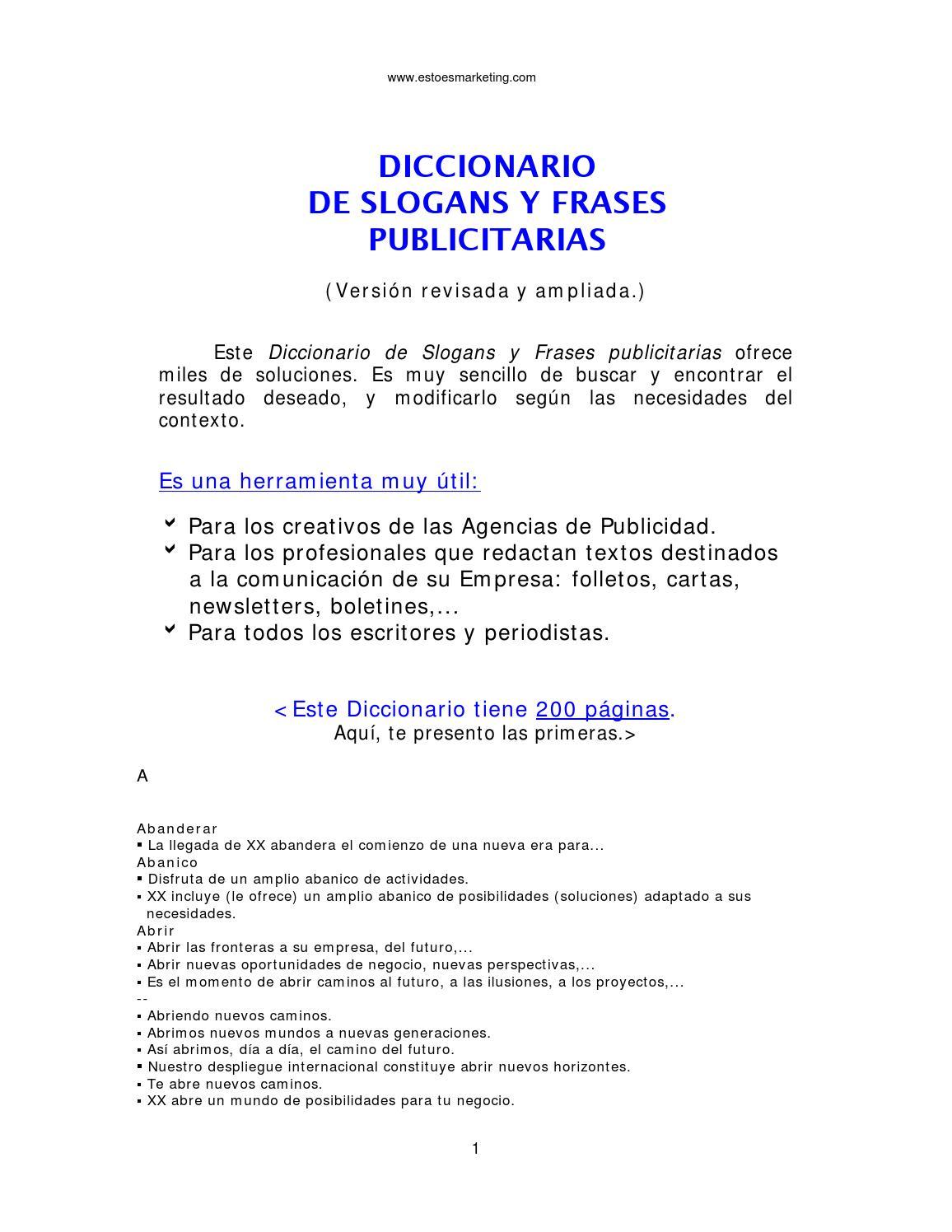 Diccionario Frases Publicitarias By Jose Luis Canales Issuu