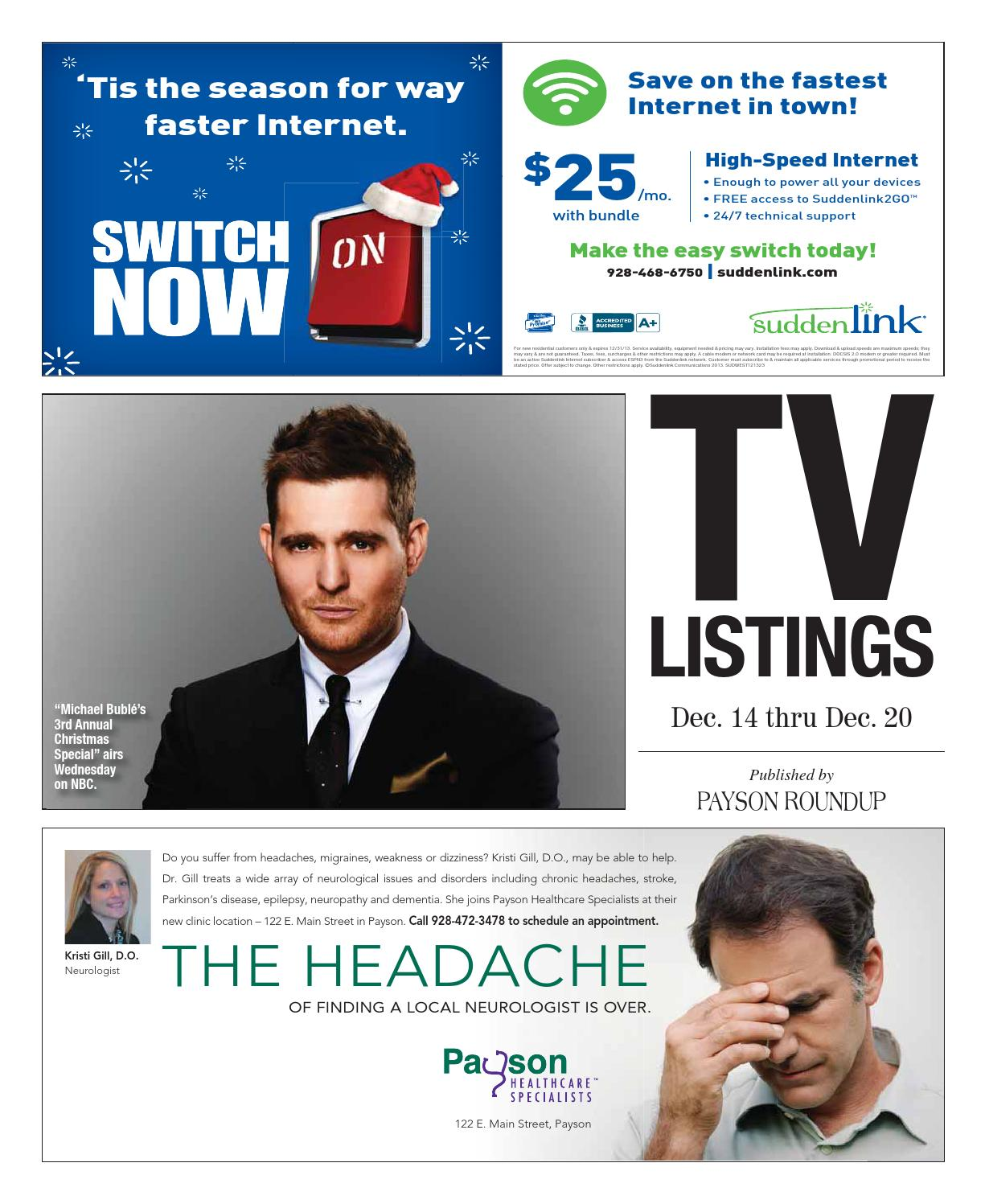 Tv guide dec 14 20 2013 by payson roundup issuu for Suddenlink customer service