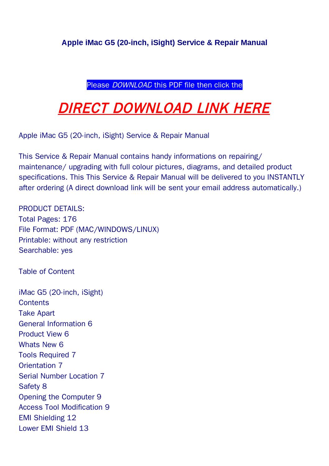 Apple imac g5 (20 inch, isight) service & repair manual by