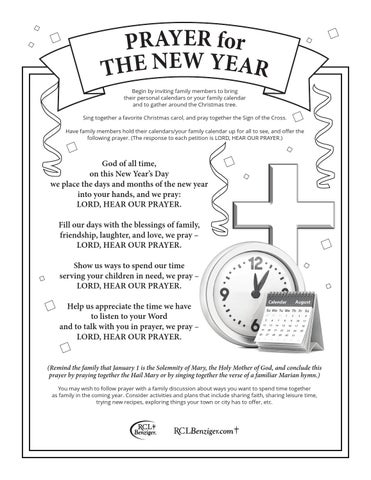 Prayer For The New Year Begin By Inviting Family Members To Bring Their Personal Calendars Or Your Family Calendar And To Gather Around The Christmas Tree