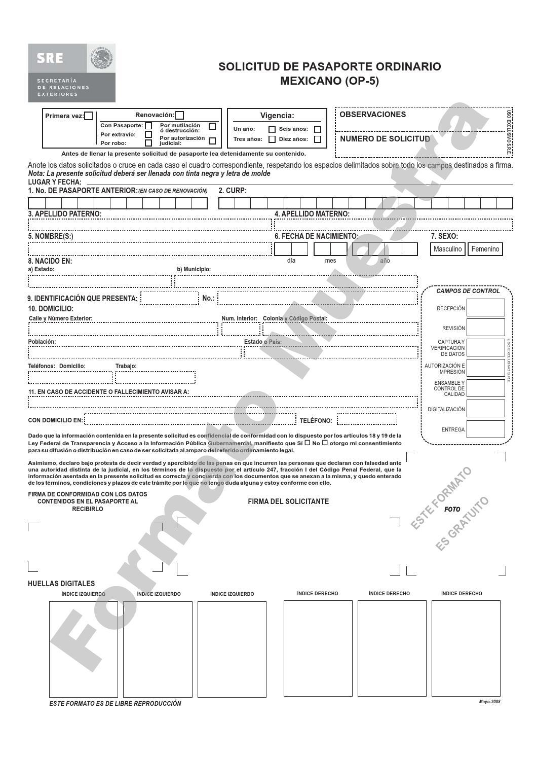 Solicitud pasaporte by enrique gomez issuu for Ministerio del interior pasaporte telefono