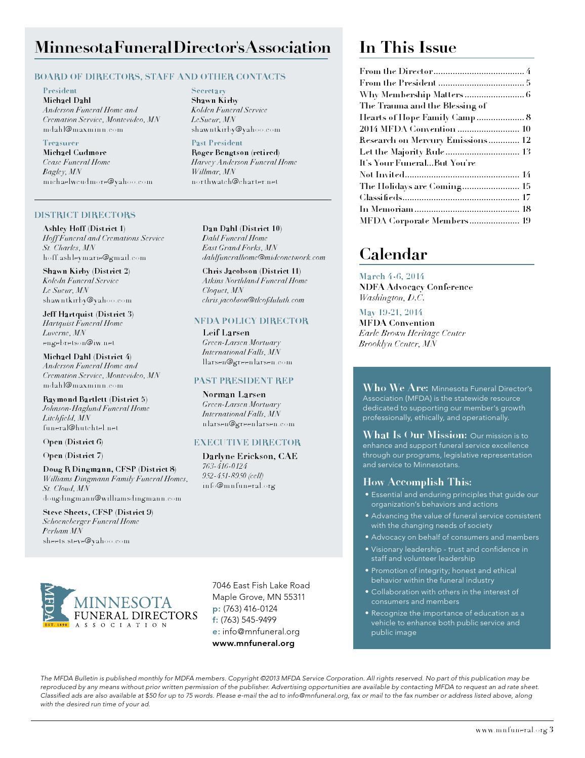 Minnesota Funeral Directors Association Bulletin By Pernsteiner