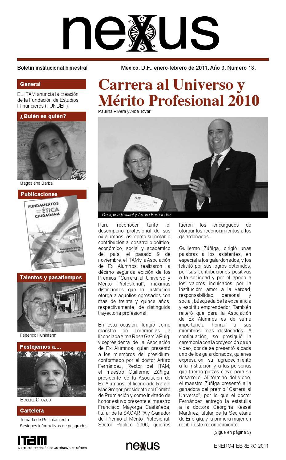 34b076d97a8b7 Nexus ITAM No. 13 Enero-Febrero 2011. Año 4 by ITAM - issuu