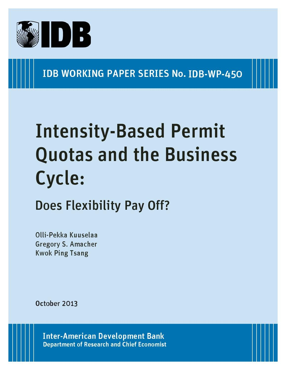 intensity-based permit quotas and the business cycle: does