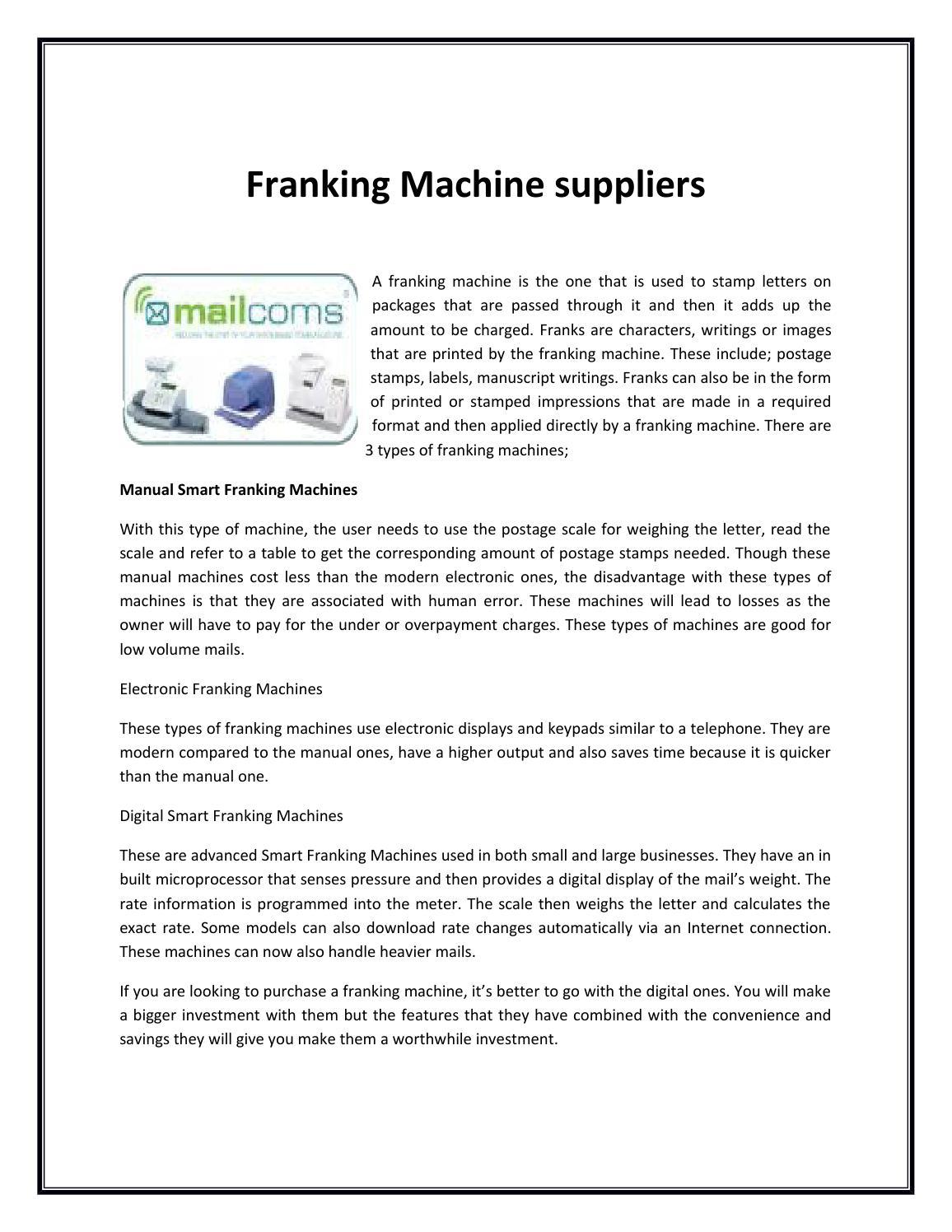 franking machine suppliers