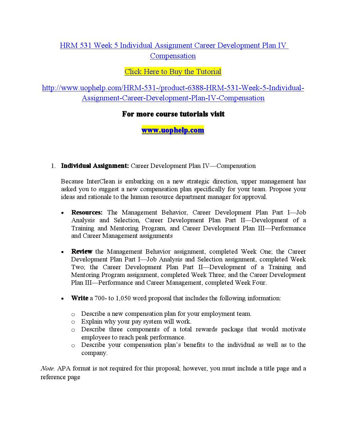 hrm 531 week 5 individual assignment career development plan iv