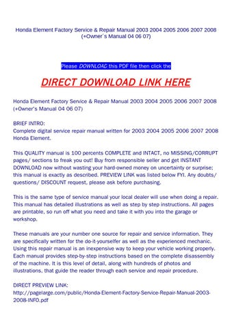 2005 honda element owners manual pdf free.