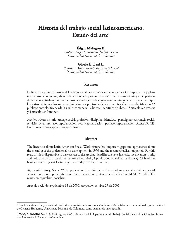 Historia del trabajo social latinoamericano by Cristian Rodriguez ...