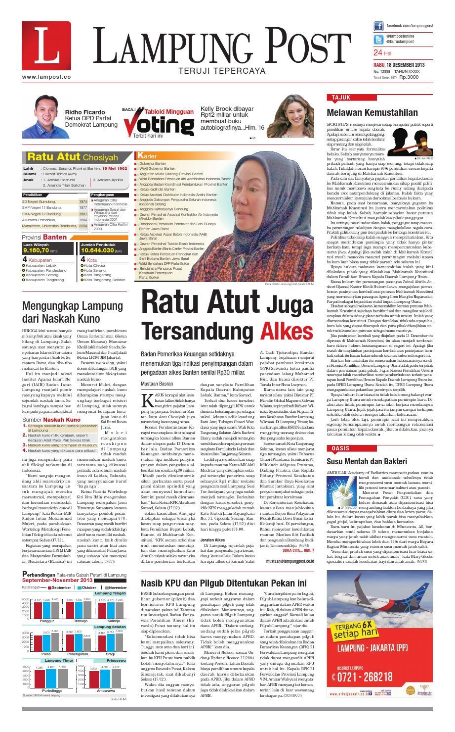 Lampung Post Rabu 18 Desember 2013 By Issuu Yamaha All New Vixion Otr Jabodetabek Banten Perak
