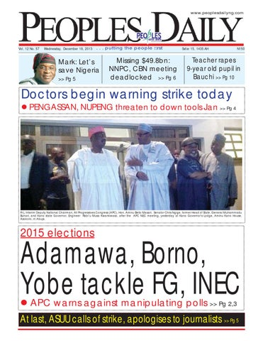 Peoples Daily Newspaper, Wednesday18, December, 2013 by Peoples