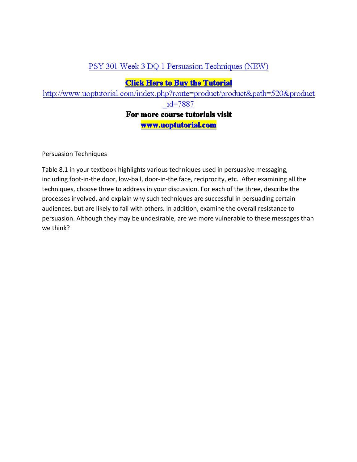 PSY 301 ASH Course Tutorial / Tutorialrank