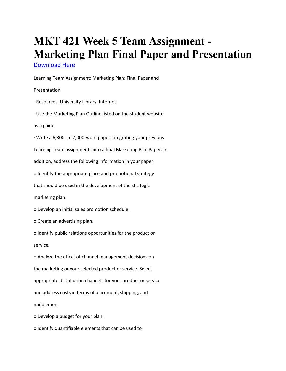 final week 6 team marketing plan View 3rd draft_marketing plan - final - week 6 - team dppt from mha 515 at university of phoenix marketing plan: final draft team d lolita davis, lucille impastato, nancy torres, thenta, tyeshia.