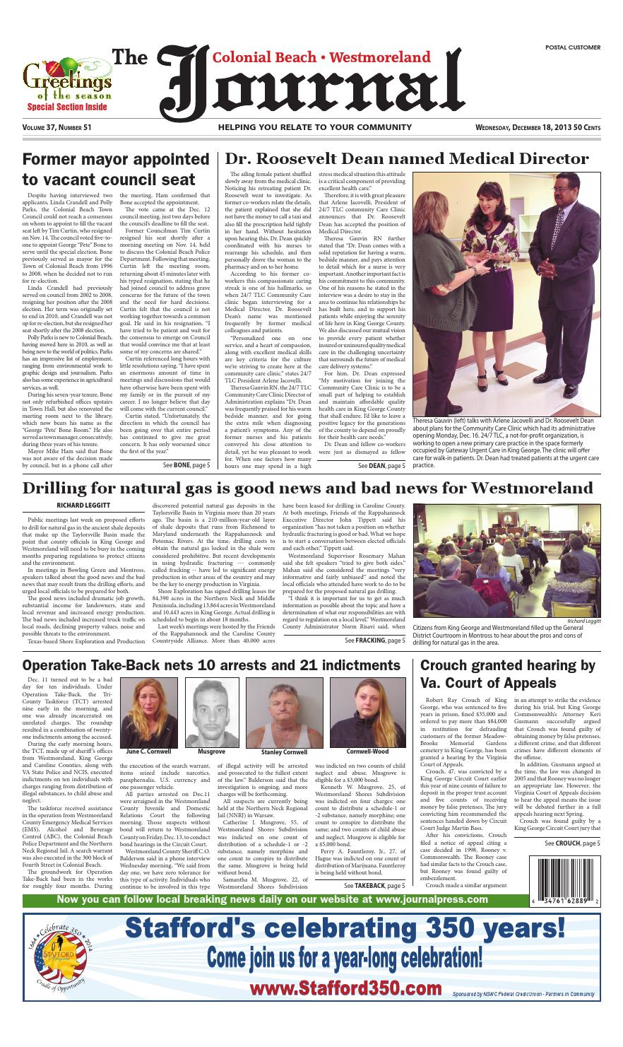 12-18-2013 Colonial Beach/Westmoreland County Va Journal by
