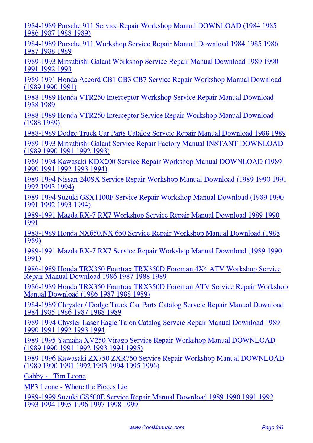 1989 Subaru Loyale Leone Ea82 Service Repair Manual Pdf By border=