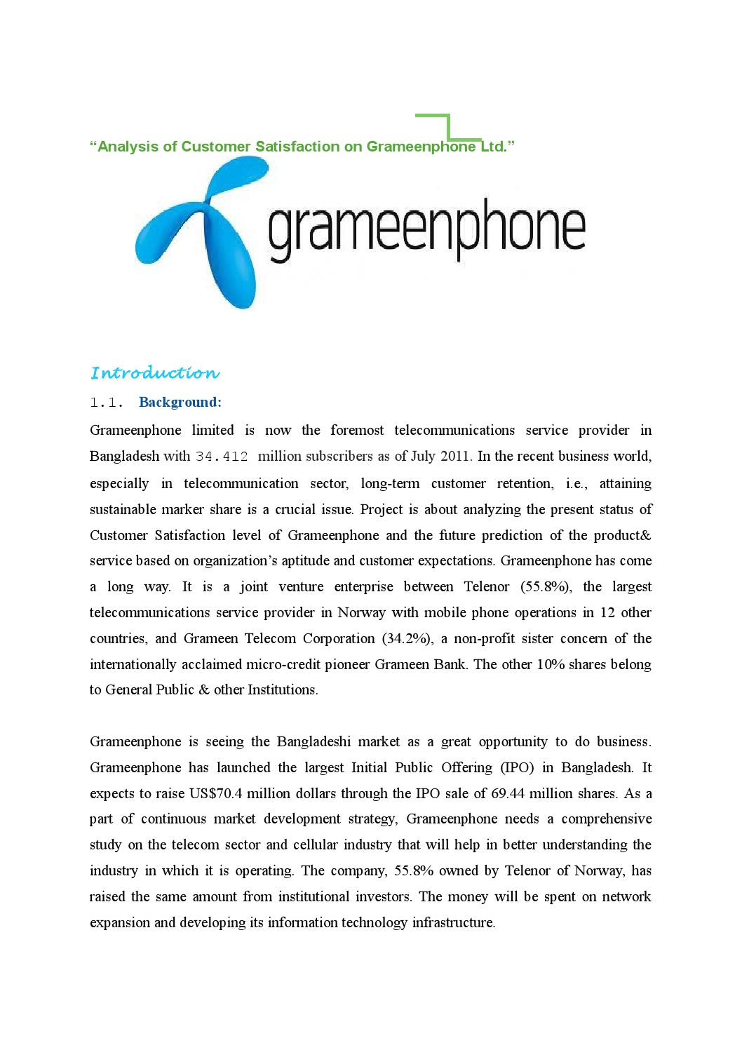 customer satisfaction of grameenphone limited Customer satisfaction customer satisfaction in the banking industry case study - barclays bank of kenya ltd customer satisfaction is a major issue in almost all sectors.