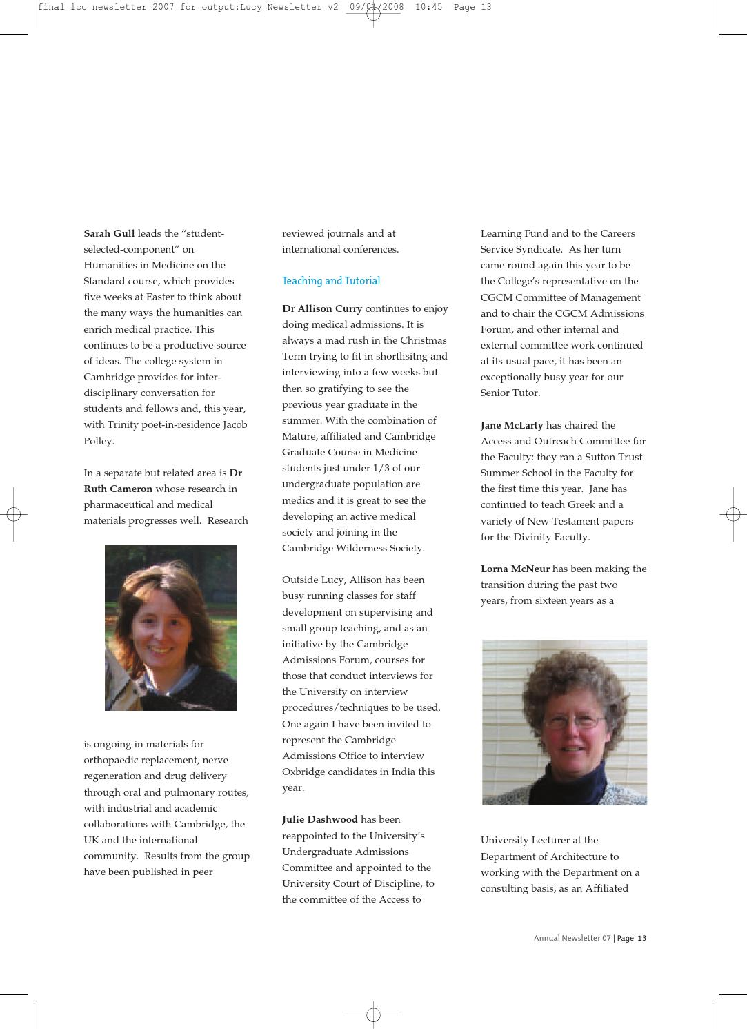 Newsletter 2007 newsletter by Lucy Cavendish College - issuu