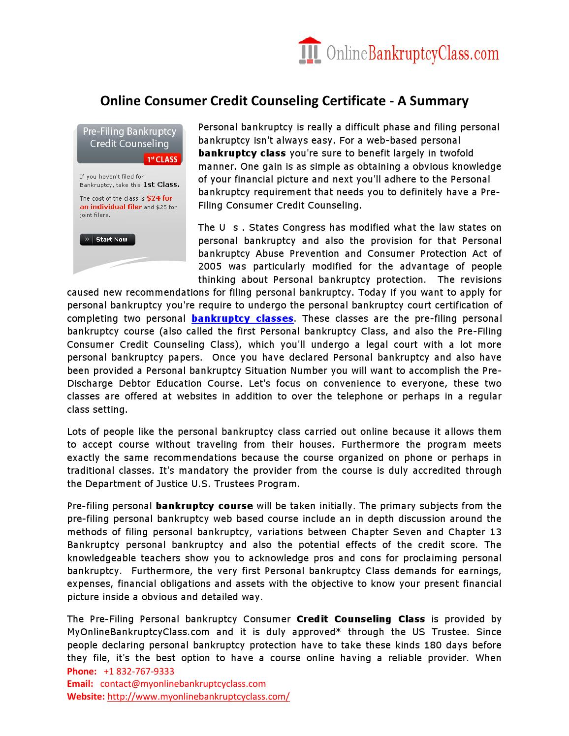 Credit Counseling Certificate Online By Onlinebankruptcyclass Issuu