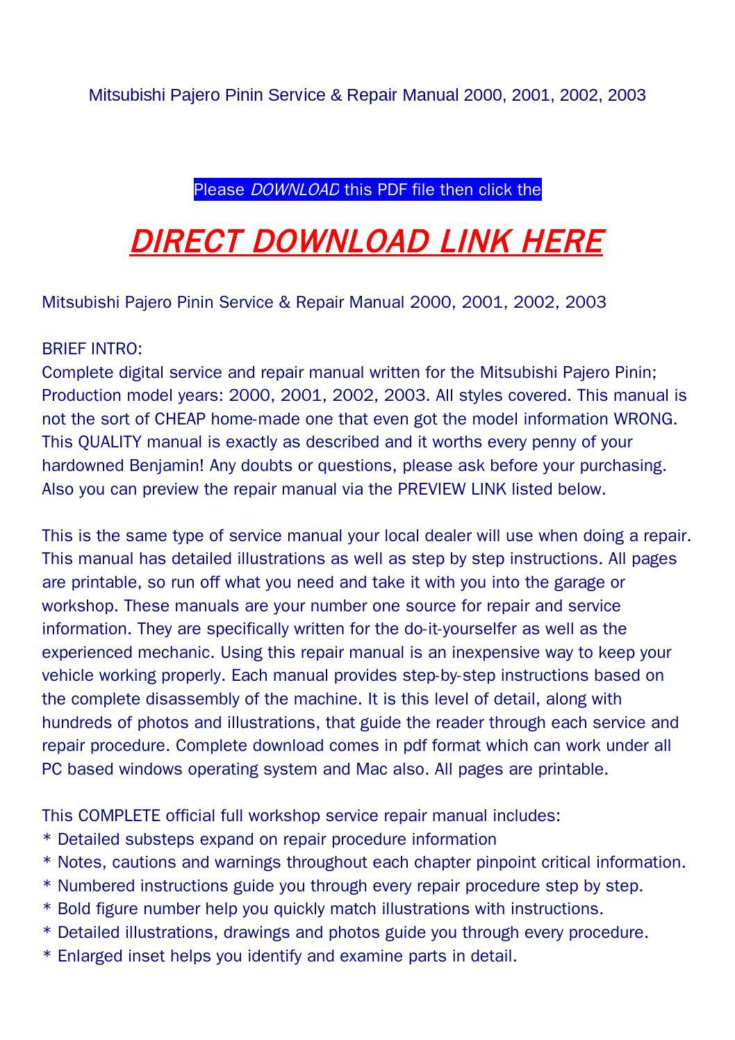 Mitsubishi pajero pinin service & repair manual 2000, 2001, 2002, 2003 by  goodmanami - issuu