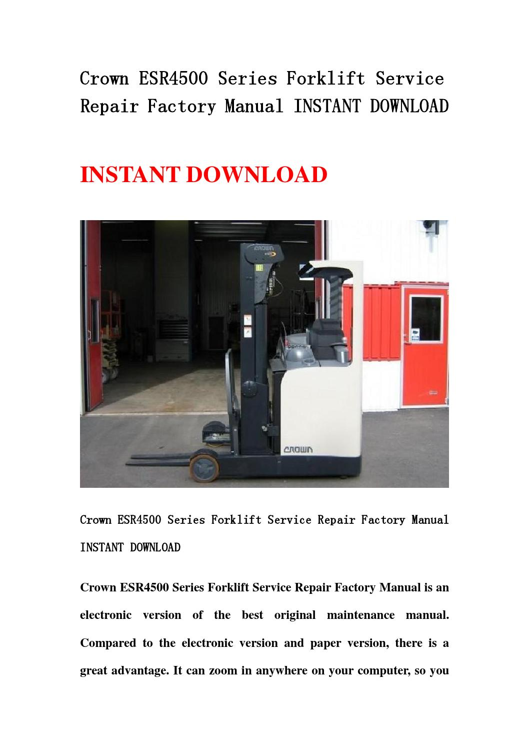 Crown esr series forklift service repair factory.