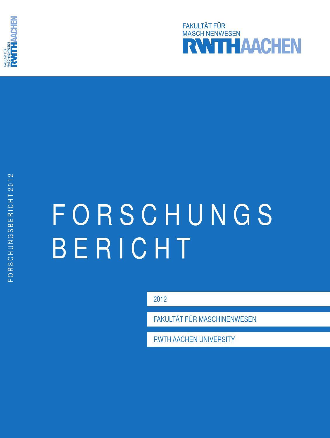 Forschungsbericht 2012 by Fakultät für Maschinenwesen - issuu