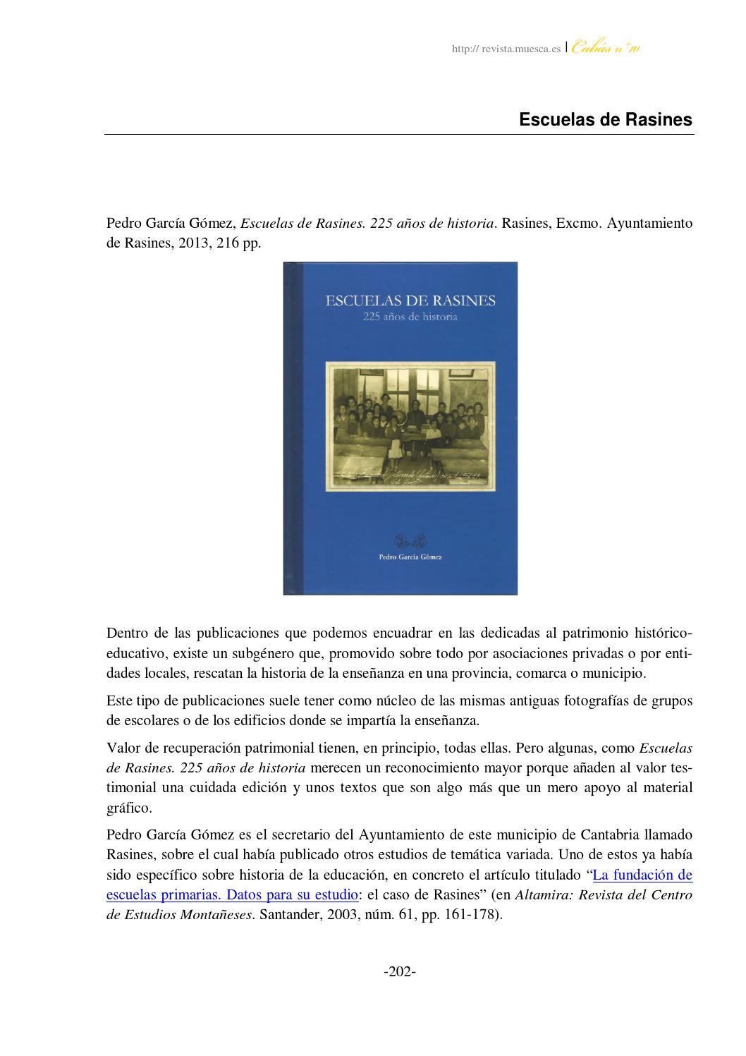 Escuelas de rasines by Jaime Bonachea Pico - issuu