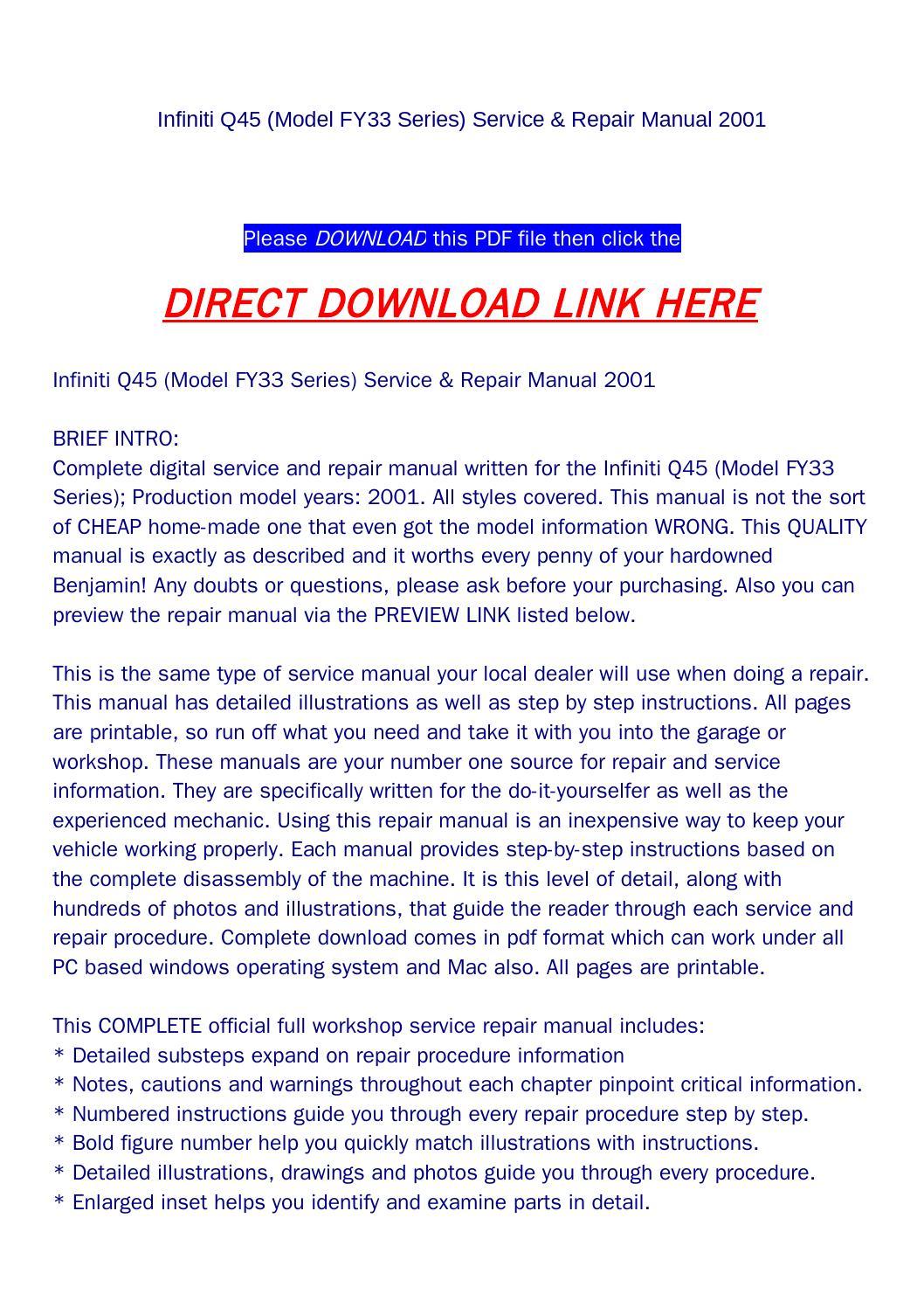 Infiniti q45 (model fy33 series) service & repair manual 2001 by goodmanami  - issuu
