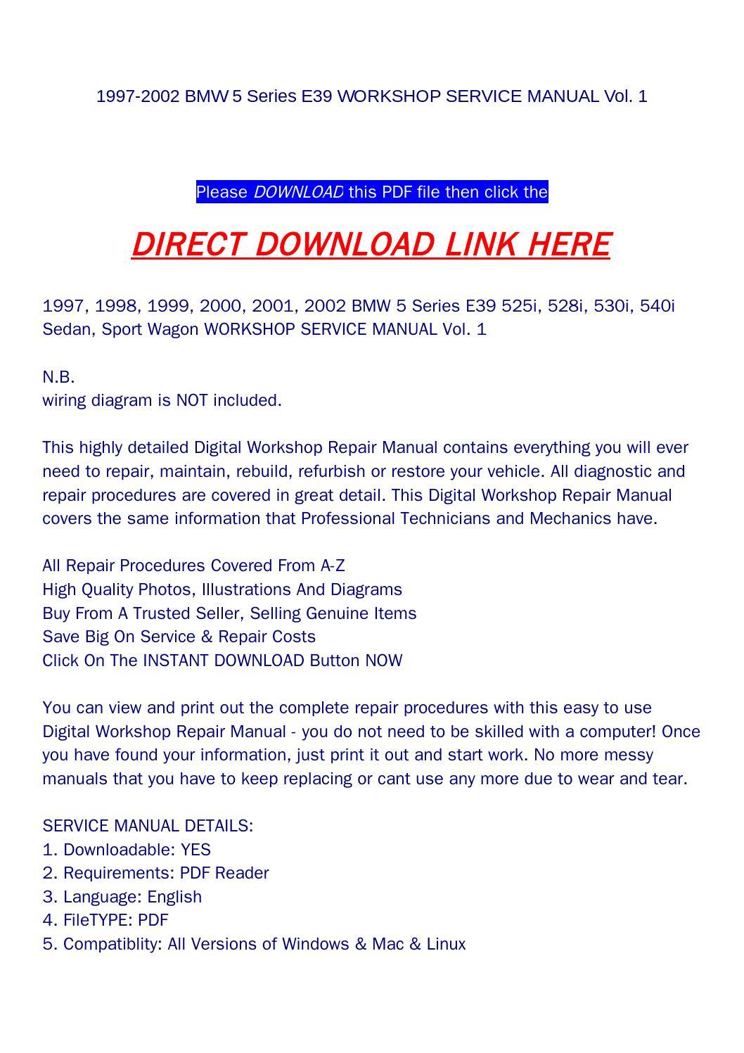 1997 2002 Bmw 5 Series E39 Workshop Service Manual Vol 1 By Goodmanami