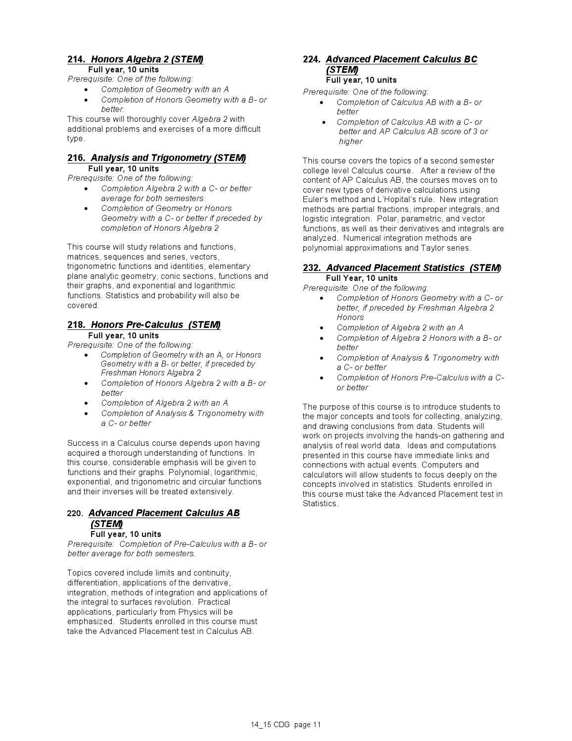 2014-15 MCHS Course Description Guide by Moreau Catholic High School