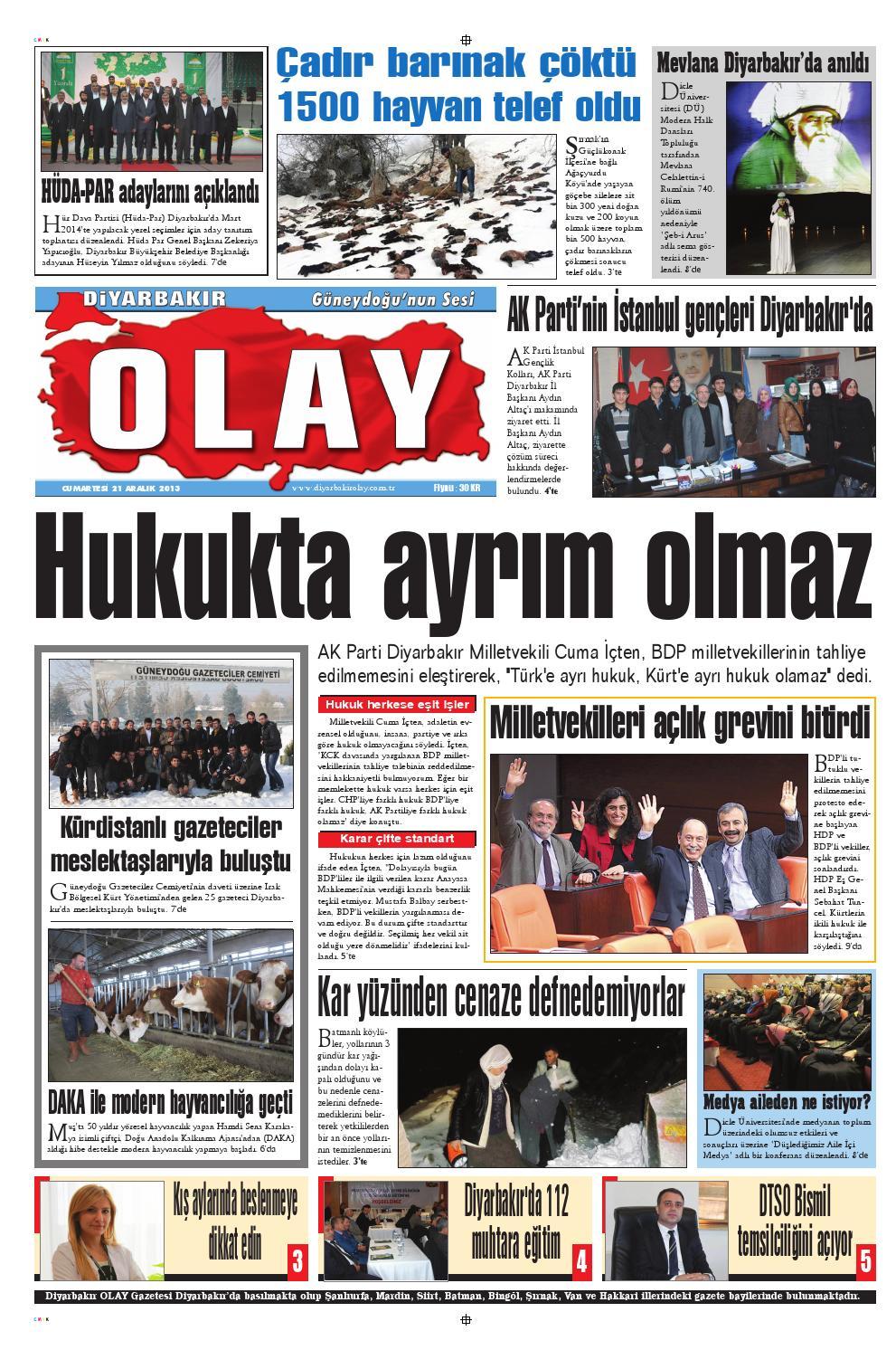 21 12 2013 Gazete Sayfalari By Diyarbakir Olaygazetesi Issuu