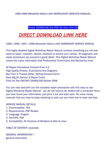 page_1_thumb_large 1995 1998 mitsubishi delica l400 workshop service manual by dniel mitsubishi delica l400 wiring diagrams download at edmiracle.co