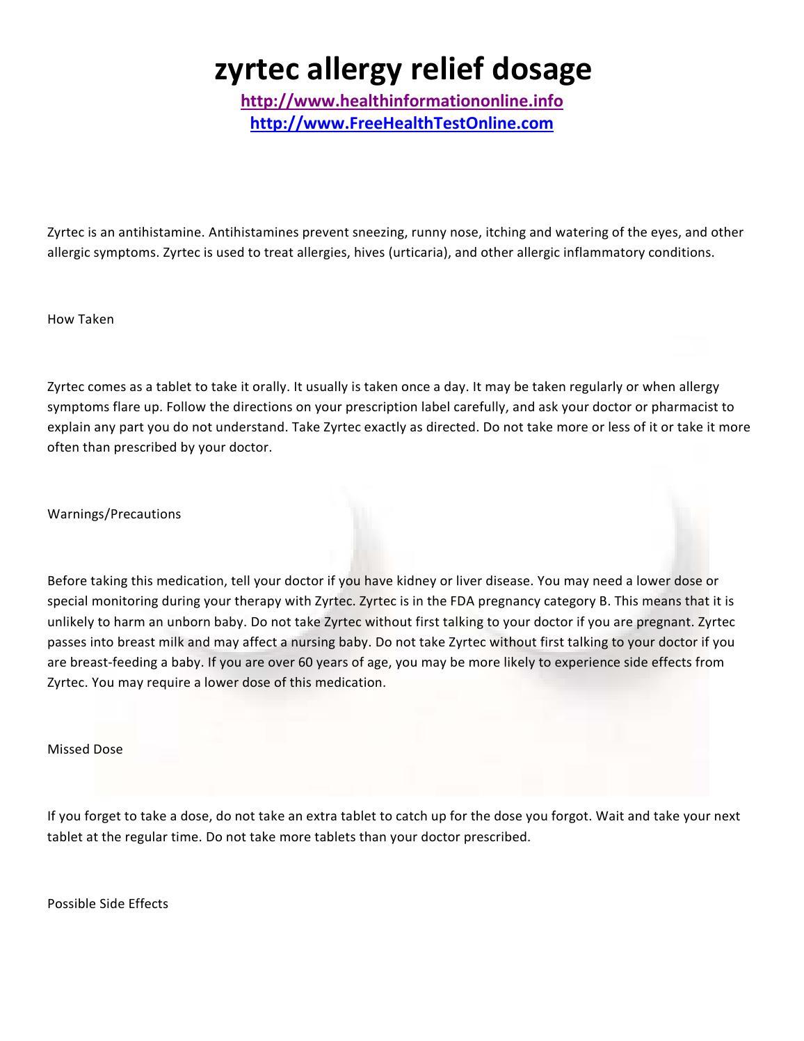 Zyrtec allergy relief dosage by healthinformationonline - issuu