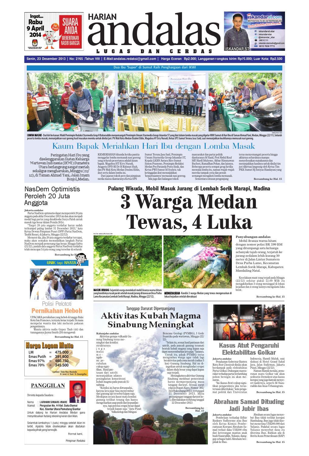 Epaper Andalas Edisi Senin 23 Desember 2013 By Media Issuu Fcenter Lemari Pakaian Wd Hk 1802 Sh Jawa Tengah