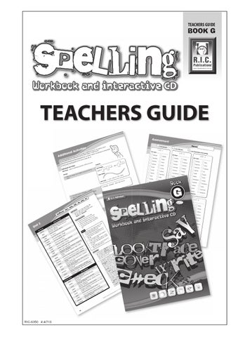 Spelling Workbook and Interactive CD Teachers Guide: Book G ...