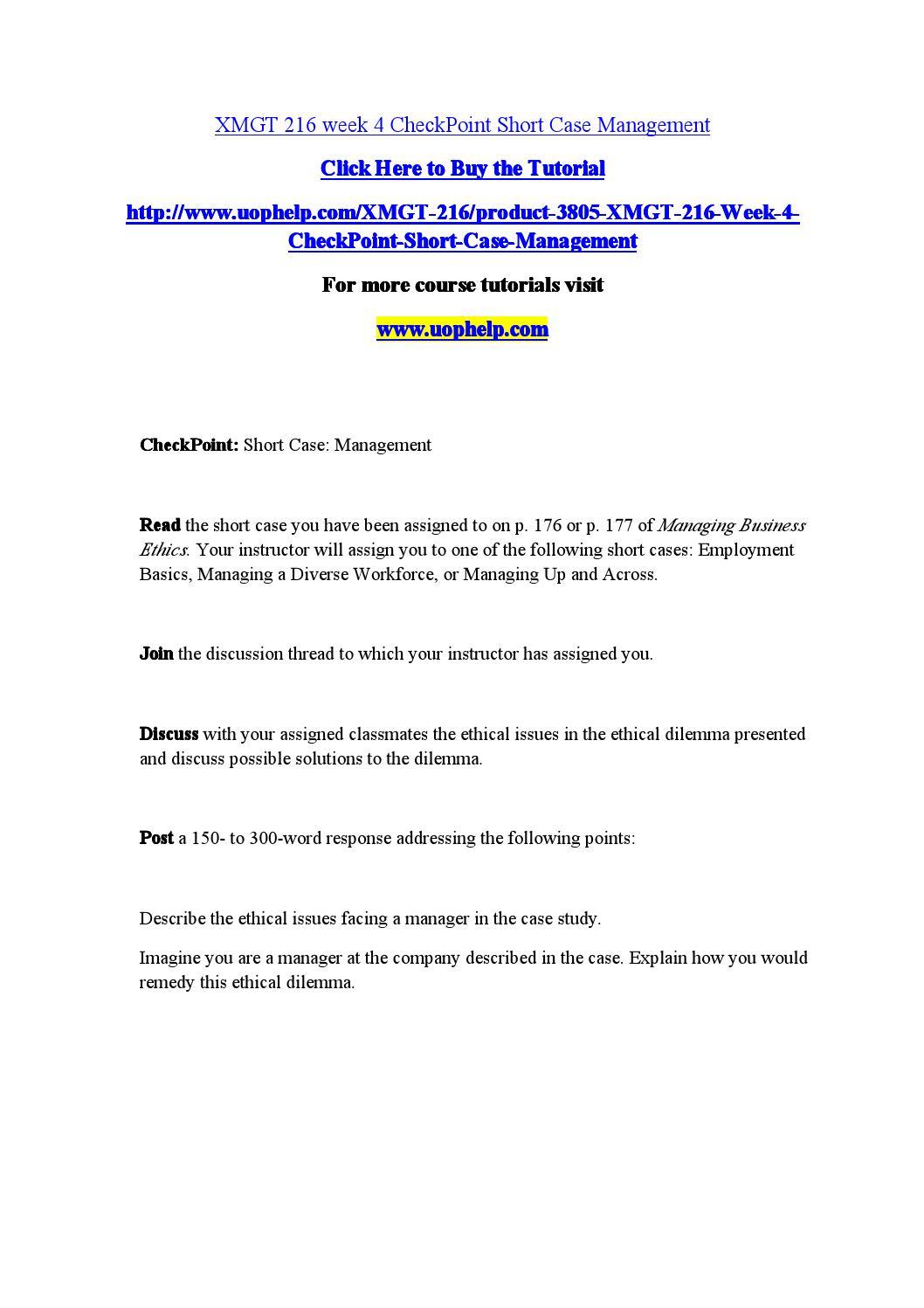 Xmgt  Checkpoint Short Case Management By Besttutor Ialpoint8055 Issuu