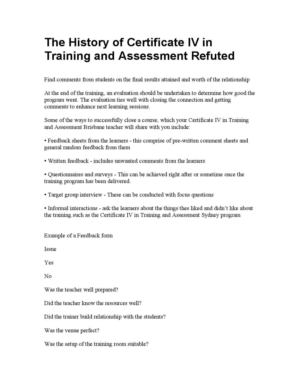 Certificate IV in Training and Assessment by manzoor - issuu