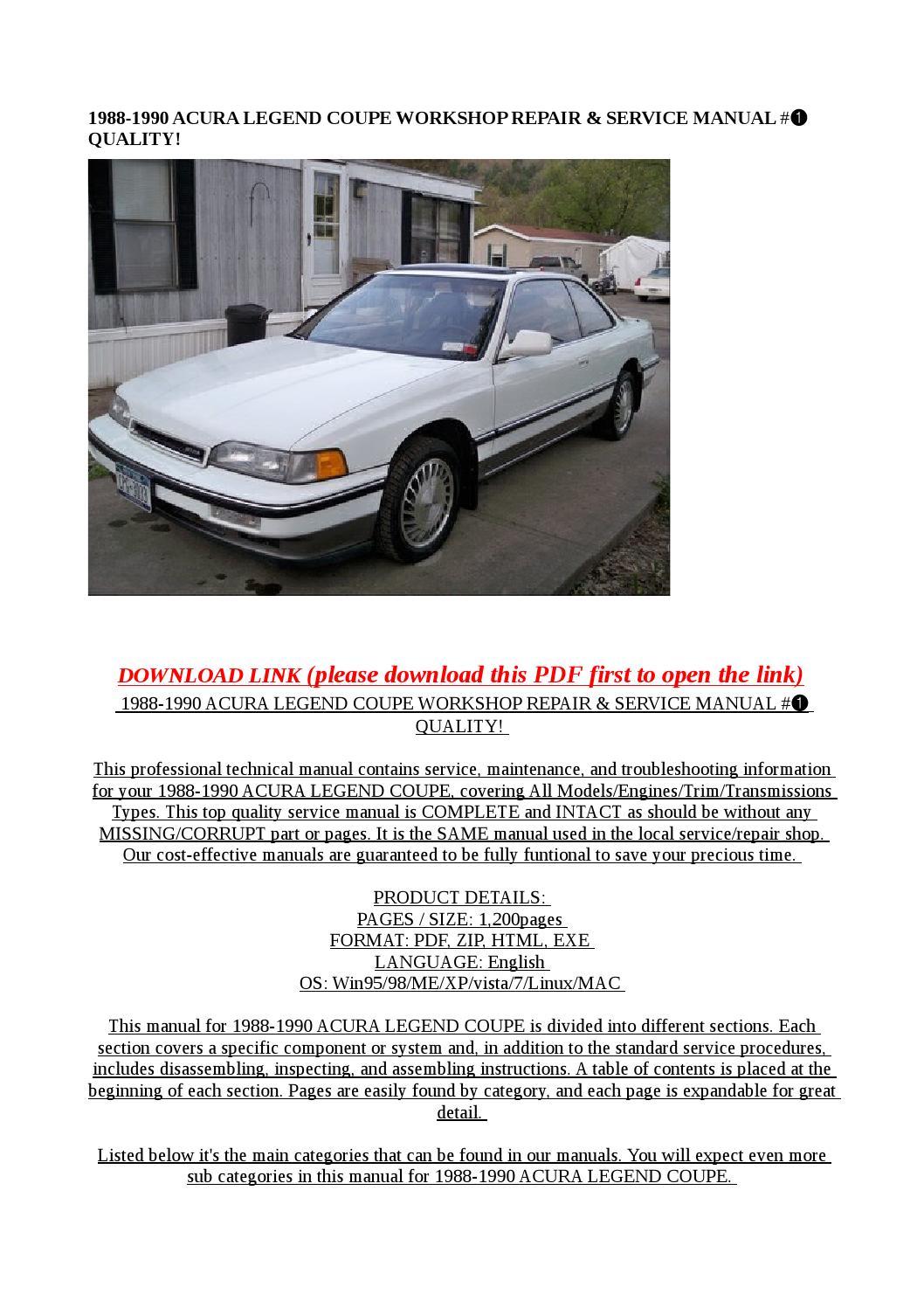 1988 1990 acura legend coupe workshop repair   service 1989 Acura Legend 1994 Acura Legend