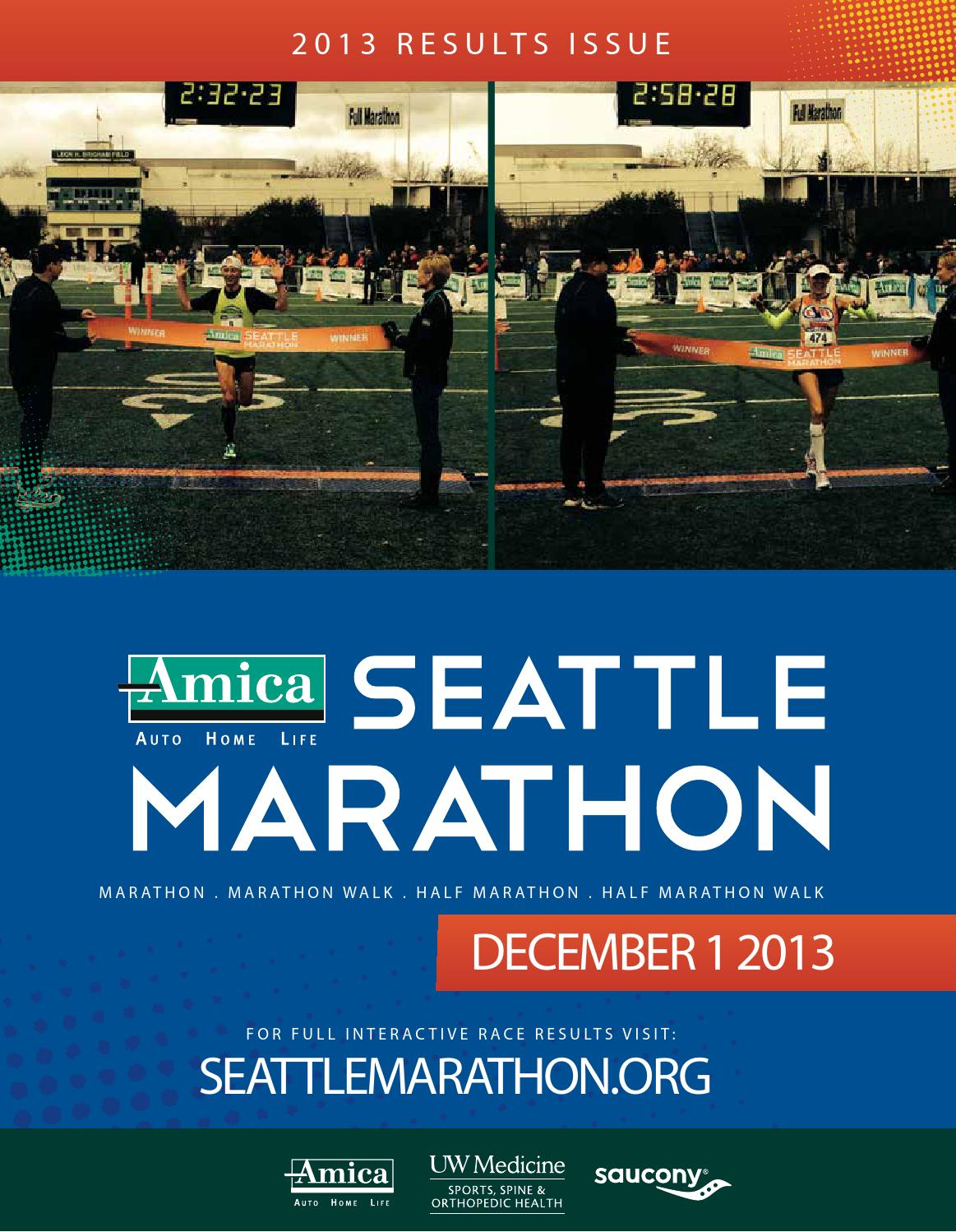 Amica Insurance Seattle Marathon 2013 Results Issue by