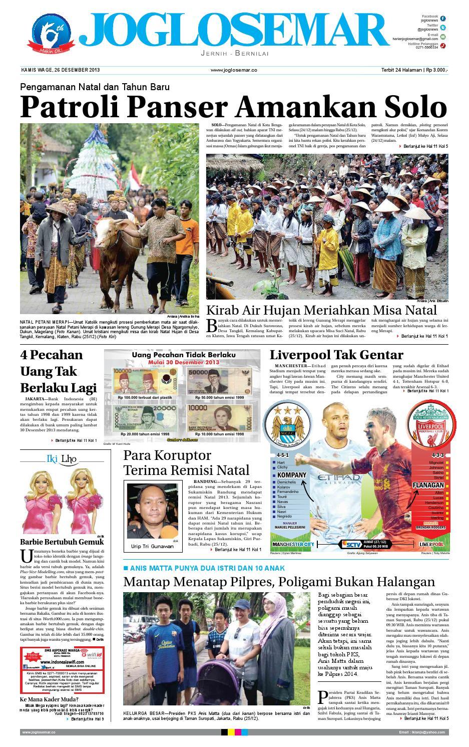 Epaper Edisi 26 Desember 2013 By PT Joglosemar Prima Media