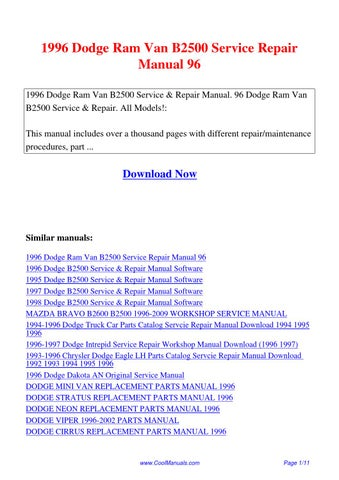 1996 Dodge Ram Van B2500 Service Repair Manual 96 Pdf By Suu Lin Issuu