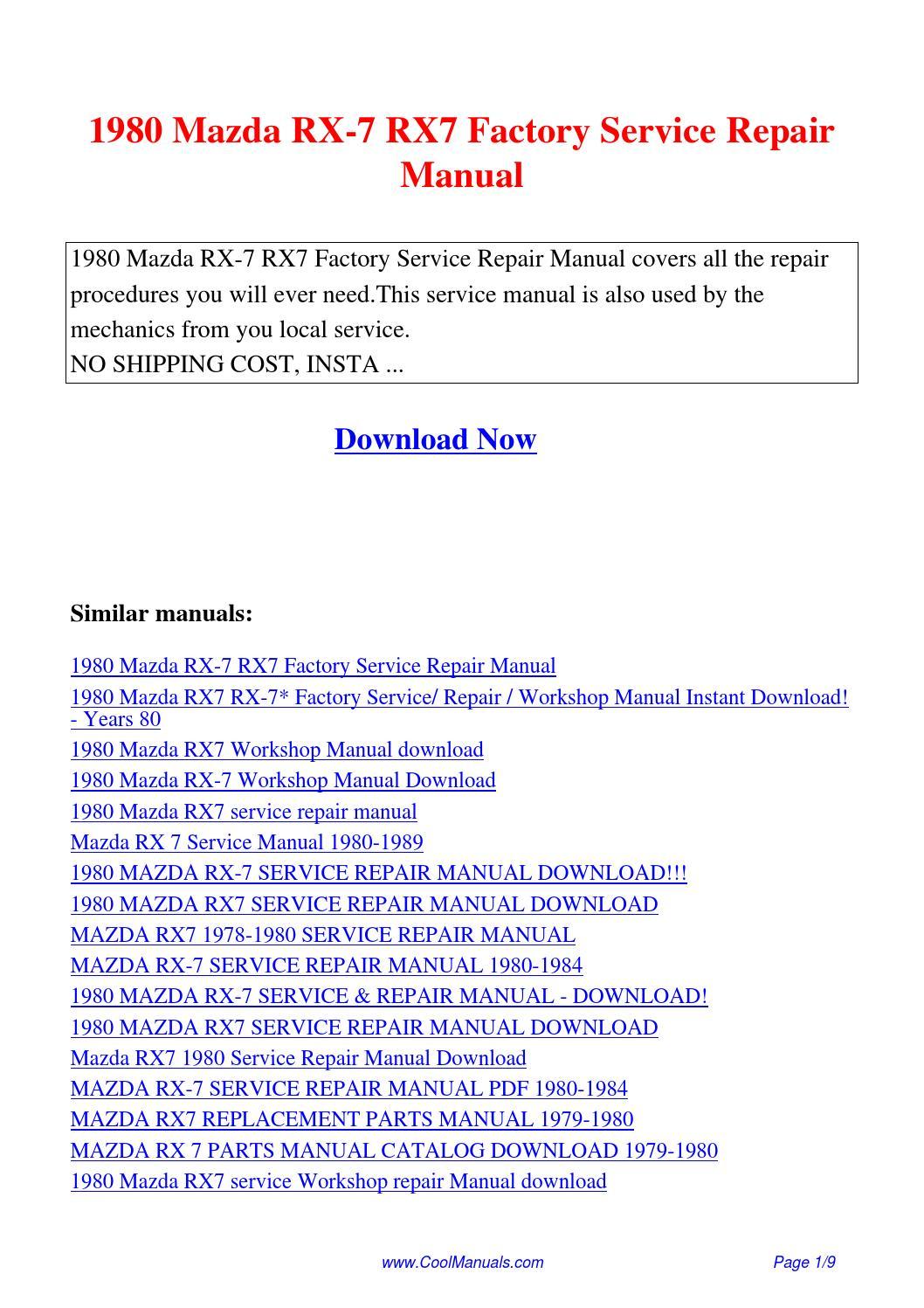 1980 Mazda RX-7 RX7 Factory Service Repair Manual.pdf by Guang Hui - issuu